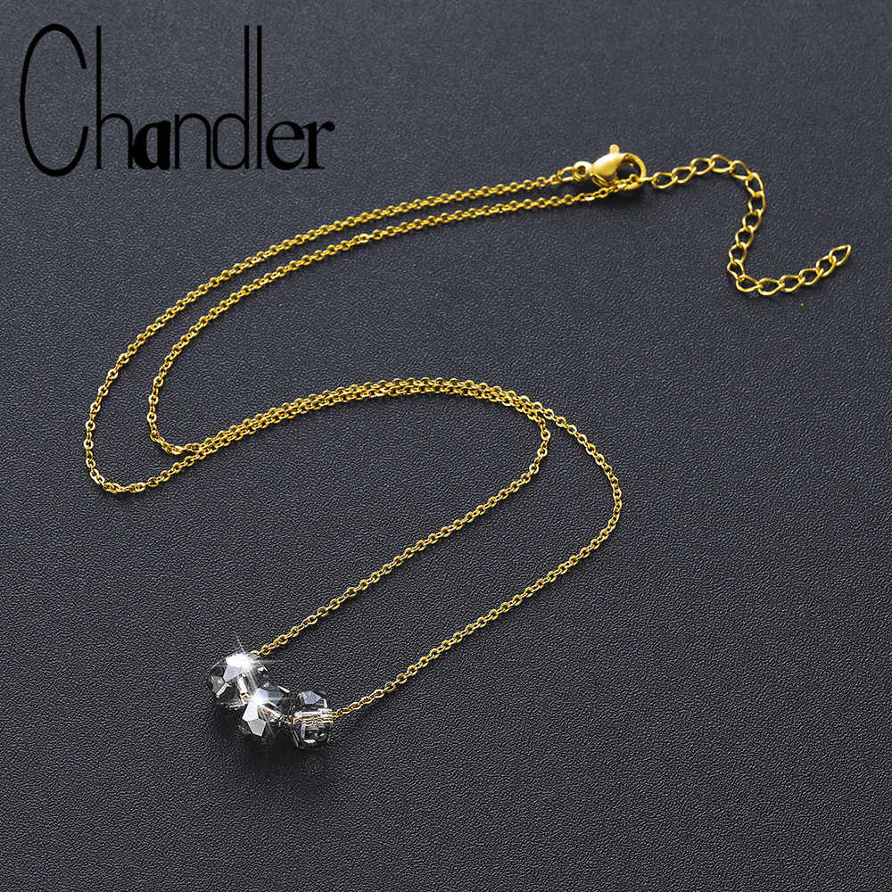 Chandler Korean Transparent Crystal Bead Necklaces Steel Chain Maxi Necklace Lovely Colier Personality Fine Jewelry For Women