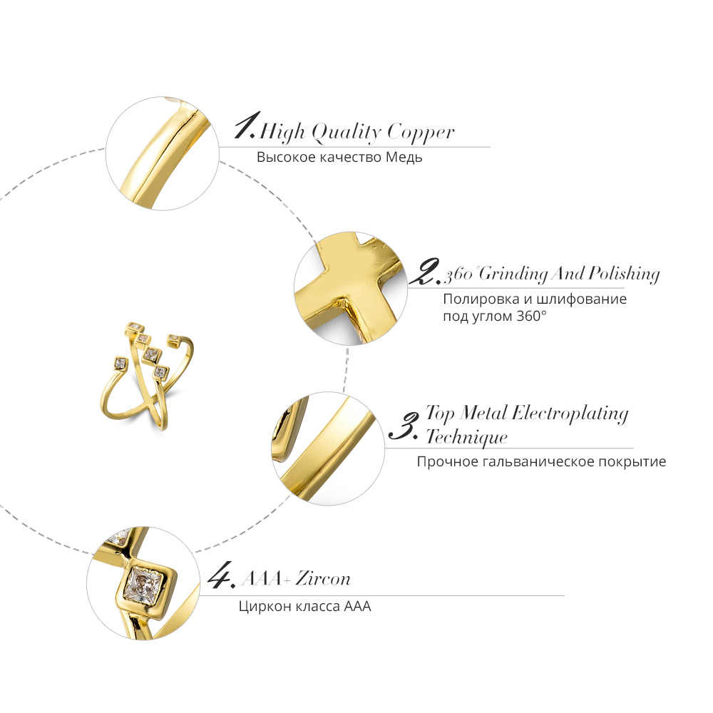 Viennois ทองสีสำหรับผู้หญิง AAA Zircon แหวนโลหะค็อกเทลหญิงเครื่องประดับขนาดแหวน