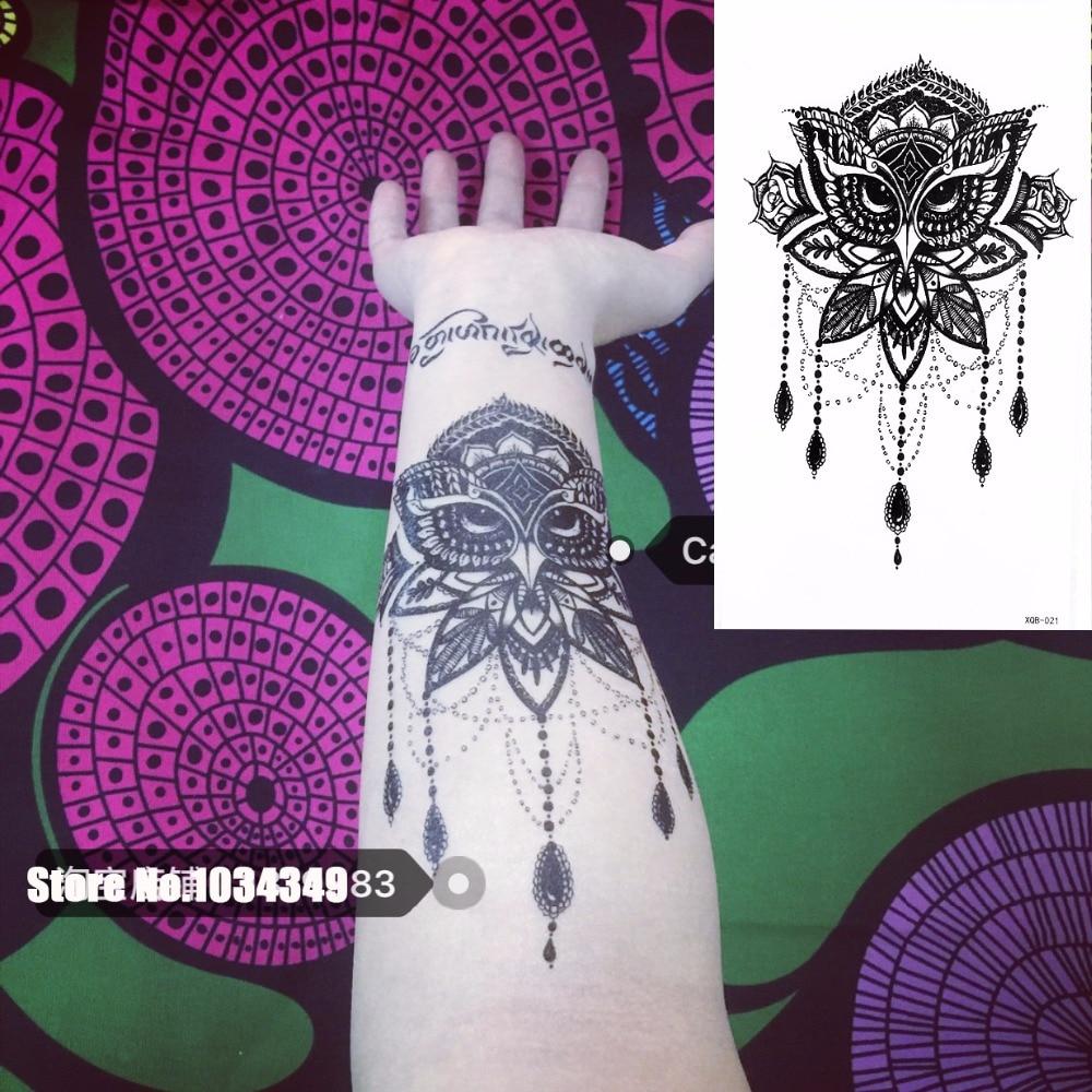 ᐂ1 Unidades Falso Negro Búho Cuerpo Tatuaje Temporal Brazo Pierna