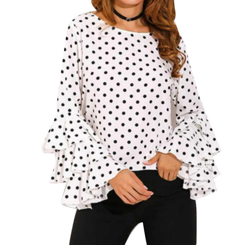 NIBESSER แฟชั่น Dot พิมพ์ Flare เสื้อ \ \ \ \ \ \ \ \ \ \ \ \ \ \ \ \ \ Blusa O - คอยาวแขนเสื้อชีฟองเสื้อผู้หญิงเสื้อเกาหลีสีขาวสีดำเสื้อ 5XL