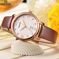 2018 Luxury European Style Ladies Watches Leather Elegant Big Dial Crystal Watch Dress Women Wrist Watch White And Gold Clock