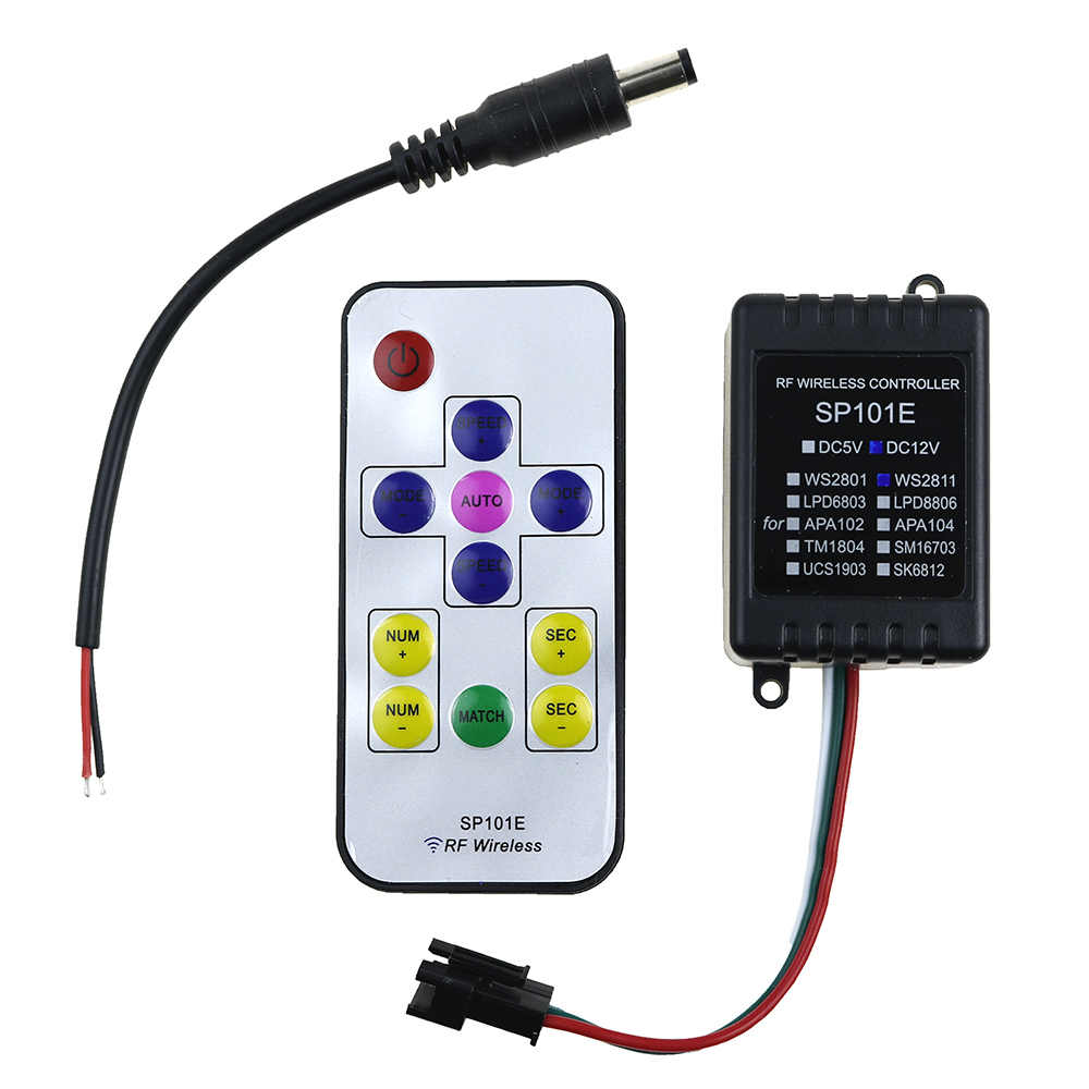 DC12V мини Беспроводной цифровой светодиодный пиксельный модульный полосы WS2811 светодиодный контроллер с RF пульт дистанционного управления 2048 пикселей для Светодиодные ленты