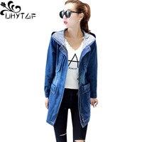 UHYTGF Spring Autumn Jacket Women Hooded Loose Jeans Jacket Plus size Outerwear Ladie Long sleeve Slim Denim Jacket Female 859