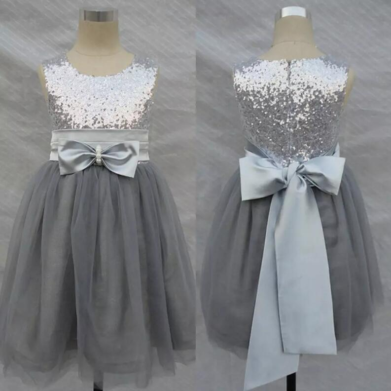 Bling Bling Flowers Girl Dresses Wedding Silver Grey Sequins Sash Bow Tulle Girls Formal Gown 2017 Custom Made