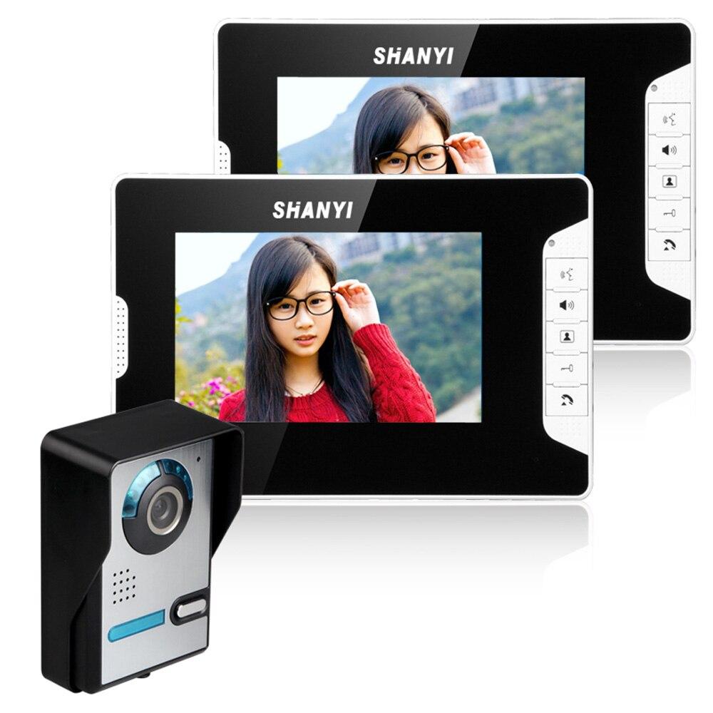 Fimei SY813FA12 7 Inch Visual Video Door Night Vision Phone Doorbell Hand-free Video Intercom 1 IR Camera 2 Monitor Bell Ring EU