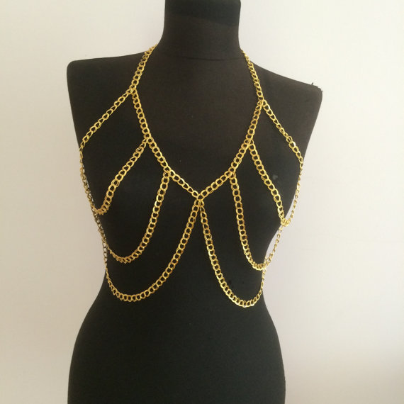 cross i gold necklace rhinestons crystal over trend and bikini harness