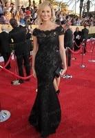 Fabulous Celebrity Dress Mermaid Boat Neck Cap Sleeve Stacy Keibler Black Lace Dress At SAG Awards