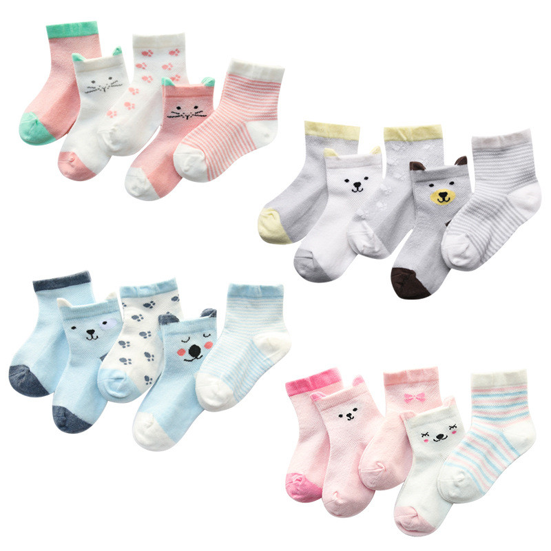 5Pairs/Lot Cartoon Baby Socks Summer Girl Socks For Children Animal Print Cotton Kid Socks For Boys Girls Thin Baby Clothing