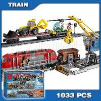 1033pcs City Motorized Remote Control Heavy haul Train 02009 Building Block Kids Power Functions Bricks Compatible With Lego