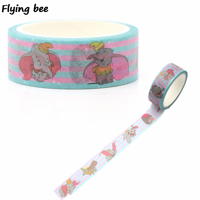 Flyingbee 15mmX5m Paper Washi Tape Elephant Kawaii Adhesive Tape DIY Scrapbooking Sticker Label Masking Tape X0263