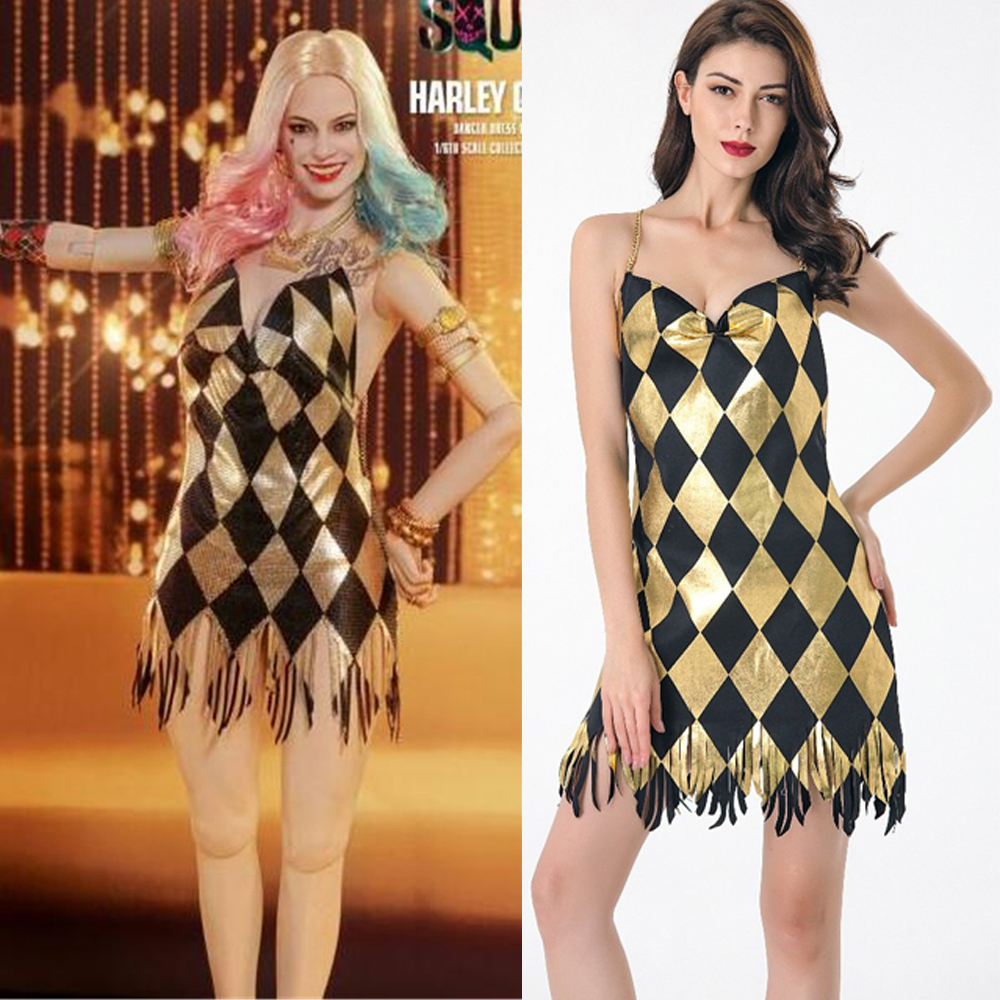 Halloween Sexy Black Gold Sequin Club Dress Harley Quinn Dress Sexy Clown Circus Fantasia Movie Suicide Squad Cosplay Costume Aliexpress