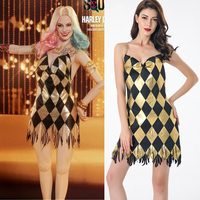 Halloween Sexy Black Gold Sequin Club Dress Harley Quinn Dress Sexy Clown Circus Fantasia Movie Suicide Squad Cosplay Costume