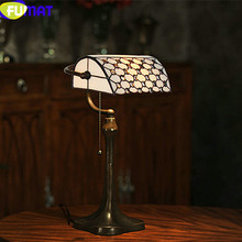 FUMAT Tiffany Table Lamp Vintage Stained Glass Shade Bedroom Bedside Light LED Bank Beads Living Room Art Home Deco Desk Light fumat stained glass pendant lamps european style baroque lights for living room bedroom creative art shade led pendant lamp