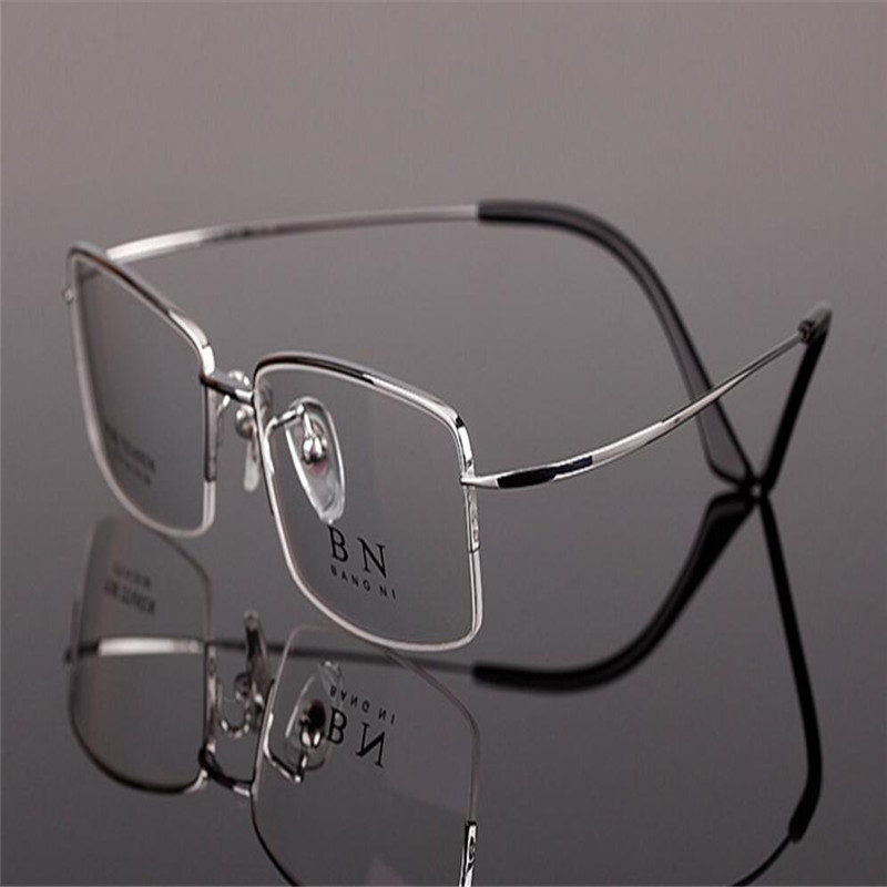 Mongoten Business Men Fashion Half Rim Aluminium Magnesium Ultralight Optical Eyeglasses Frame Black Silver New Myopia Eyewear Men's Eyewear Frames