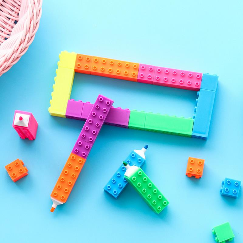 6pcs/set New Mini Building Blocks Pen Color Highlighter Marker Pen Writing Drawing Kid Gift Stationery Office School Supplies