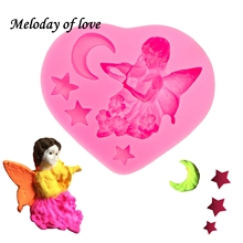 Angel girl moon and stars chocolate cake decorating tools DIY fondant silicone mold Sugarpaste Craft Bakeware wholesale T0015 cheap Moulds Silicone Rubber CE EU LFGB Eco-Friendly Stocked T-0015 Cake Tools Meloday of love Yes pink silicone mold cake decorating tools