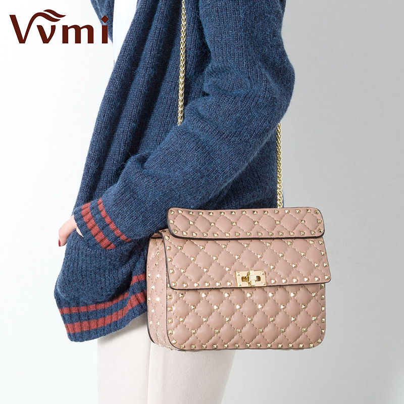 Vvmi bolsos women gorgeous rivet chic messenger handbags female genuine leather lattice chain strap single shoulder