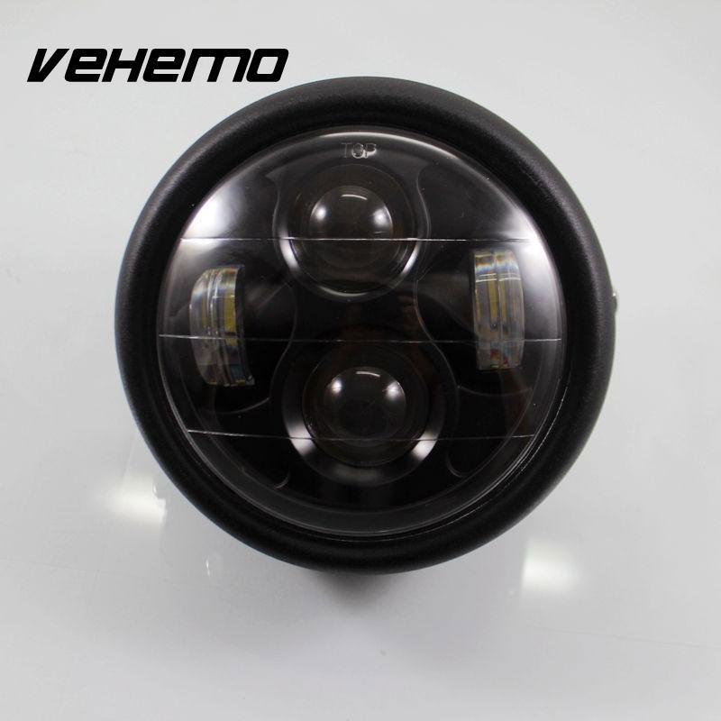 Vehemo Motorcycle Projector Pure White Headlight Hi/Lo Light Beads Lamp Lamps