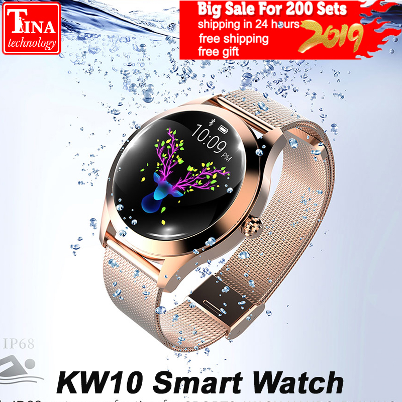 IP68 Waterproof KW10 Smart Watch Women 2018 Heart Rate Monitoring Bluetooth For Android IOS Fitness Bracelet