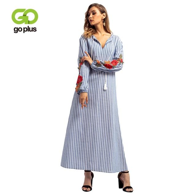 GOPLUS Muslim Abaya Floral Embroidery Striped Long Dress Women V Neck Long Sleeve Maxi Dress Lace up Middle East Vestidos Female