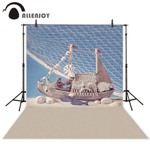 Allenjoy kids backdrop Toy fish shells wood board beach fishing net children photography Background for a photo shoot