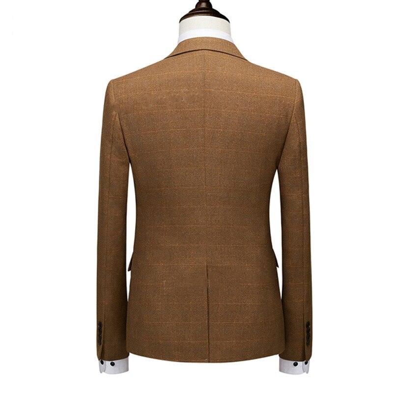 2019 メンズスリムフィットチェック柄ジャケットファッション最新オーダーメイドスーツジャケットブレザー古典的な高級メンズブレザー  グループ上の メンズ服 からの ブレザー の中 2