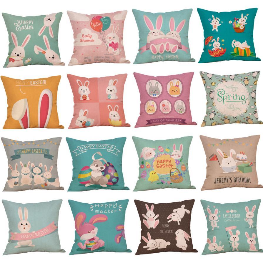 2018 Pillow Case 45*45 Easter Cotton Square Rabbit Throw Pillow Case Waist Cushion Cover Home Decor Free Drop Shipping JA30