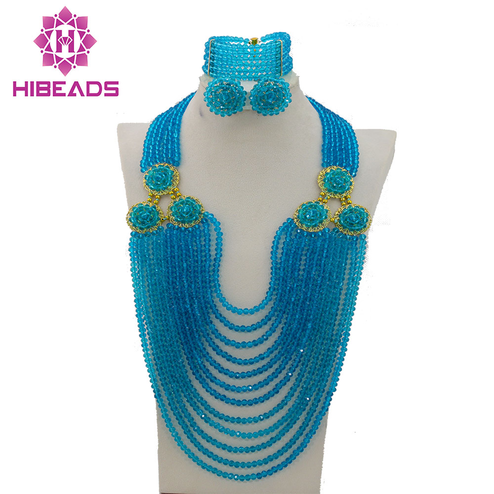 Silver Gray African Jewelry Sets Popular African Wedding Beads Jewelry Set Wholesale Free Shipping HX934