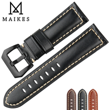 MAIKES Hot Selling Watch band Genuine Cow Leather Watch Strap 26mm 24mm 22mm Watch Accessories Black Watchband For Panerai все цены