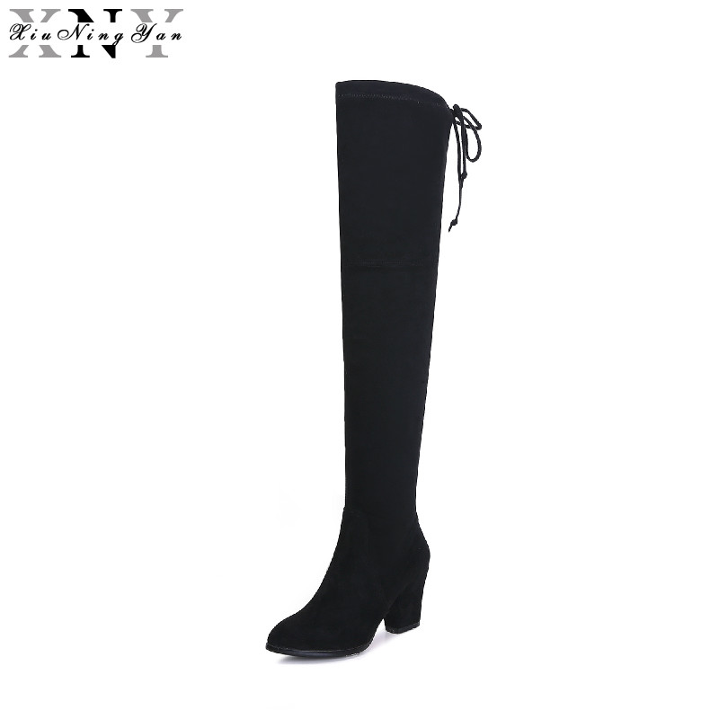 XiuNingYan Faux Suede Slim Boots Sexy Over The Knee High Women Snow Boots Women's Fashion Winter Thigh High Boots Shoes Woman 2017 sexy thick bottom women s over the knee snow boots leather fashion ladies winter flats shoes woman thigh high long boots
