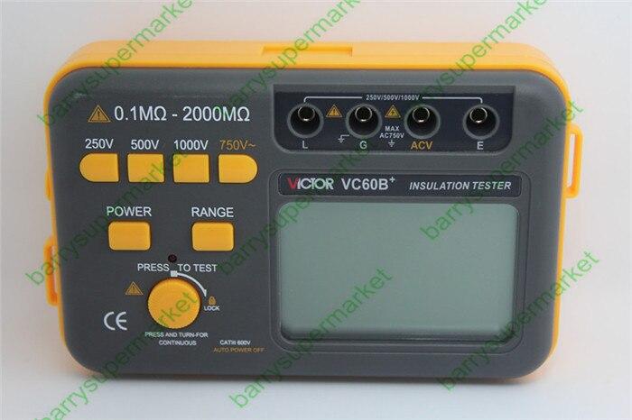 VC60B+ Digital Insulation Resistance Meter Megger MegOhm Resistance Tester Meter DC250/500/1000V AC750V 0.1~2000M new arrival vc60b digital insulation resistance tester megger megohm meter 1999m 250 1000v