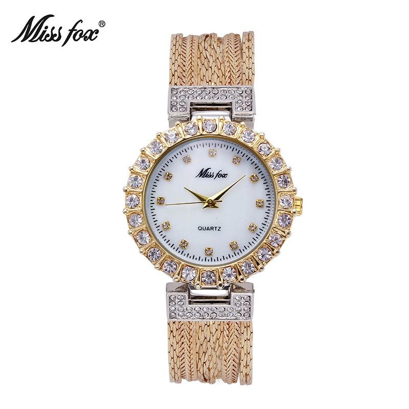 f8c5de18872 ... Mulheres de Qualidade Senhorita Fox da Marca Top de Luxo Relógio Quartzo  Ouro Strass Relógios Dama Moda Borla Pulseira à Prova d  Água 2018 ...