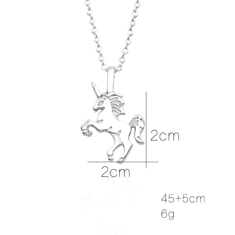 HTB18C1zXuL2gK0jSZFmq6A7iXXaD - Cute Unicorn Necklace Fashion Cartoon Horse Jewelry Accessories For Girls Children Kids Women Party Animal Pendant Bracelet Set