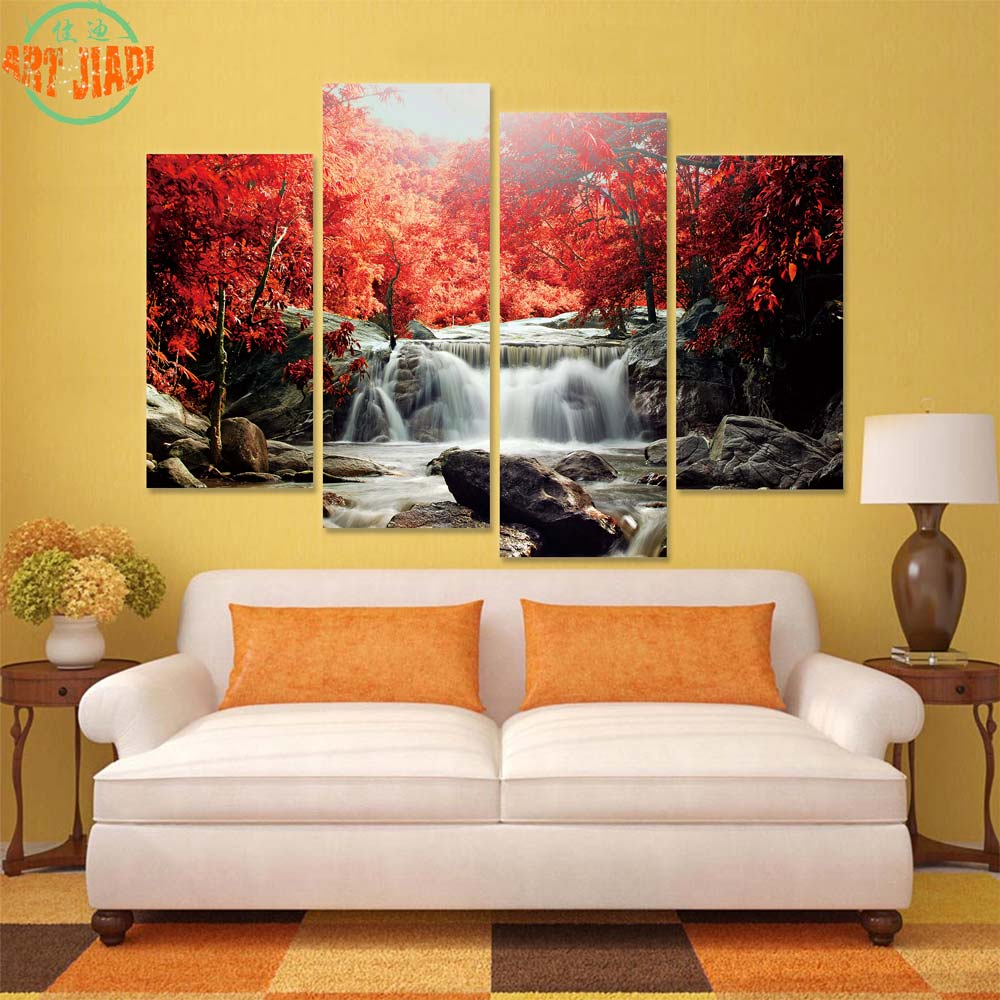 4 Piece Set Or 5 Piece Set Canvas Art Waterfall And Blue Stream Canvas Paintings Decorations For Home Wall Art Prints Canvas B97 Canvas Painting 5 Piecescanvas Art Aliexpress