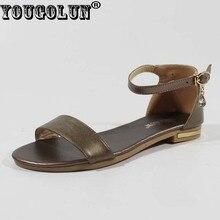 Yougolun/-Летние женские сандалии натуральная кожа без каблука обувь с ремешком на щиколотке с прозрачной пряжкой # Y-135
