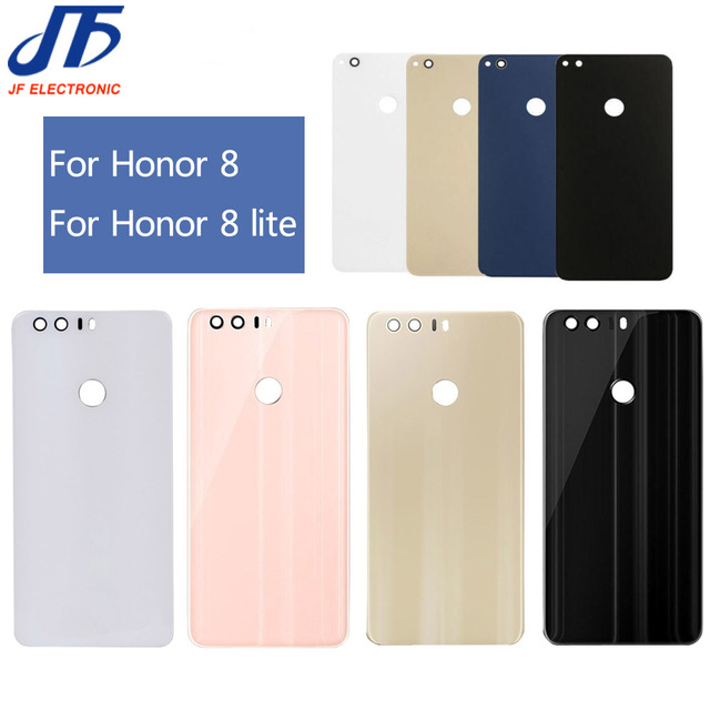 5 pcs/lot back Glass Rear Housing Cover Replacement For HUAWEI For Honor 8 lite Back Door Hard Battery case + Adhesive sticker