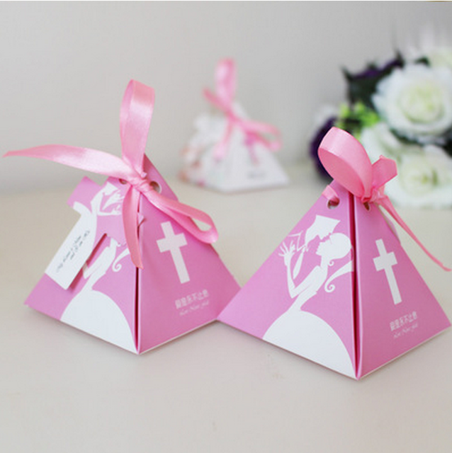 50 x european triangular pyramid cross wedding favors candy boxes bridal shower party gifts box giveaways