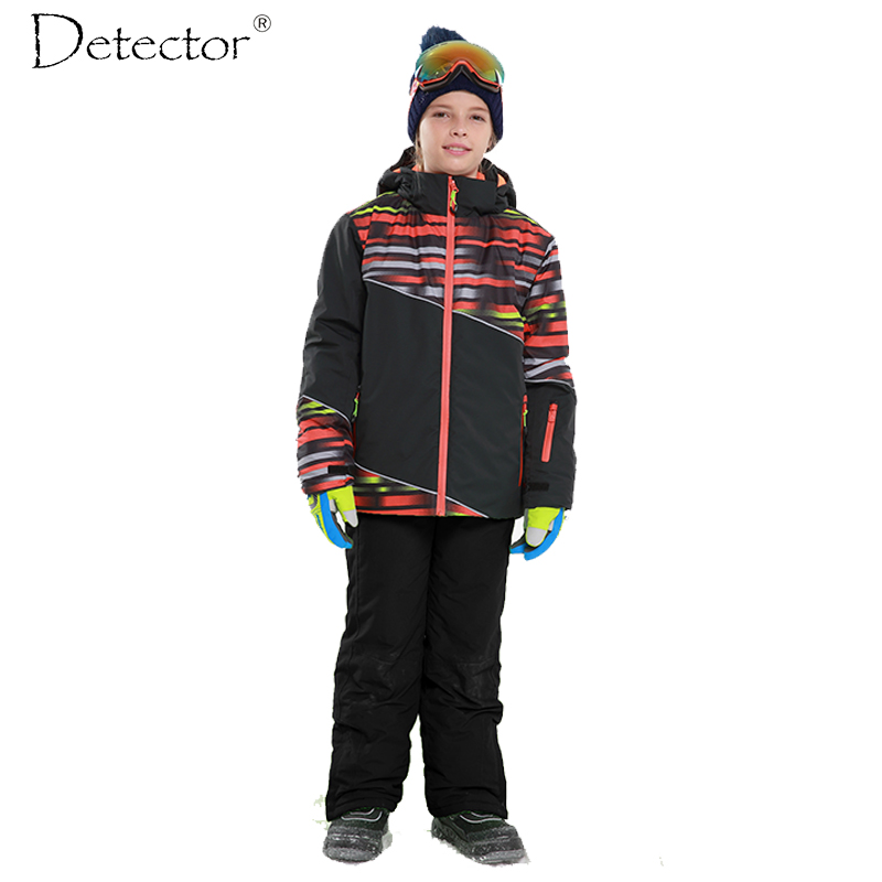 Detector Boys Outdoor Ski Set Waterproof Windproof Warm Ski Jacket Kids Winter Snowboard Suit detector girls ski set children waterproof windproof clothing kids ski set winter warm snowboard outdoor girl ski jacket