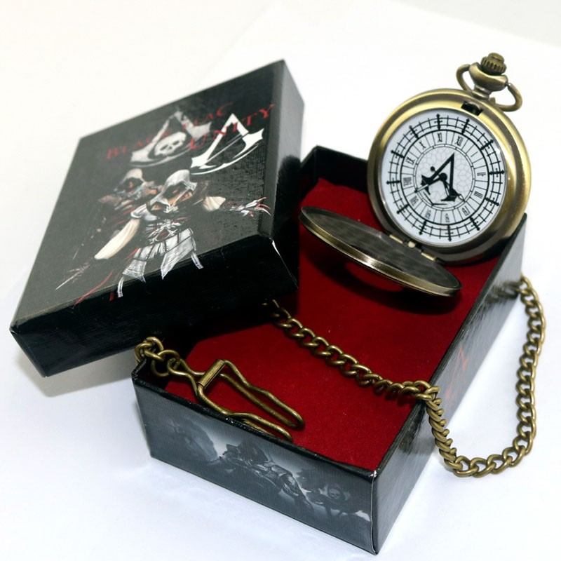 Anime Assassin's Creed Pocket Watch Connor Carry Retro Figure Collection Model Cosplay Pocket Watch