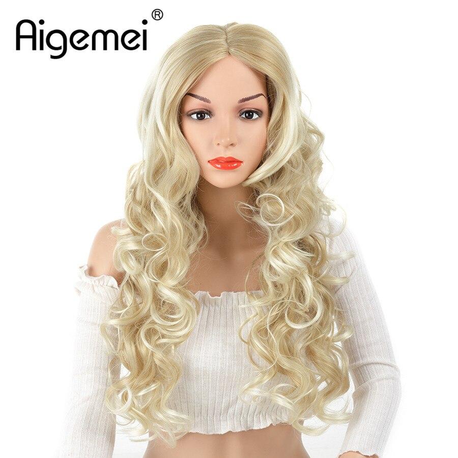 Aigemei 150% плотность объемная волна смесь блондинка коричневый Цвет парик жаропрочных Синтетический волос естественной линии роста волос для ...