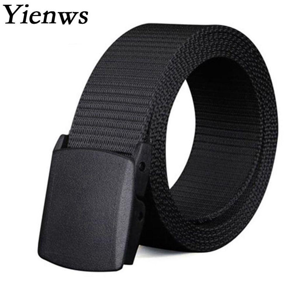 Yienws Mens Plus Size   Belts   150cm Black Canvas   Belts   for Men 200cm Western   Belts   Waist Male Cinto Preto Ceinture Homme YIB00