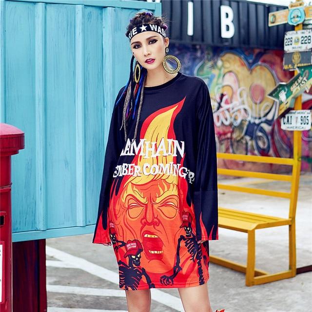 just.be.never hip hop graphic dress kawaii harajuku korean anime red black  tops graffiti printed casual long tshirt loose ladies 97b0c5f3d25b