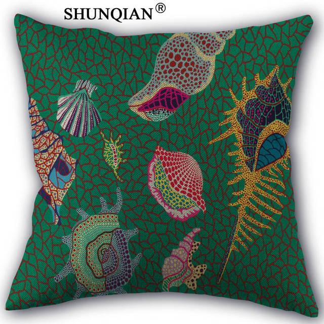 Custom Yayoi Kusama art Print Linen Cotton Japanese style Pillow Cover Custom Print Home Decorative Pillowcases 45x45cm one side