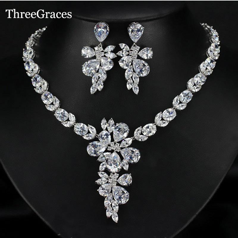 цена на ThreeGraces Luxury Bridal Wedding Accessories Cubic Zircon Crystal Stone Big Flower Drop Necklace Jewelry Set For Women JS184