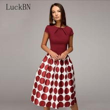 Vintage Women Wave Point Dress Hot Sale Short Sleeve Patchwork A-line Casual Womens Clothing Spring Summer Vestidos