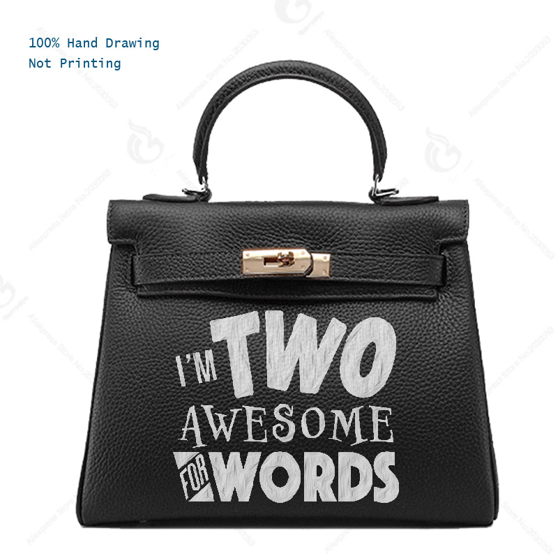 все цены на Women bags handbags Luxury Genuine Leather totes women's Fun Bags Custom Gift Print funny idea letters I'm TWO AWESOME FOR WORDS