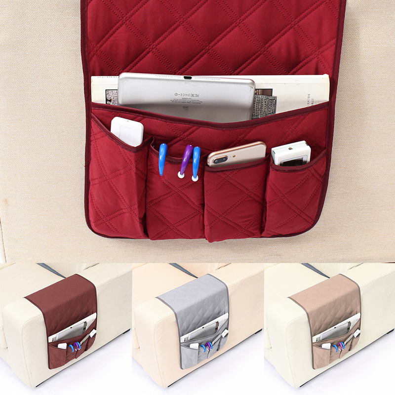 5 Pockets Armchair Sofa Chair Storage Bag Remote Control Phone Sundries Holder Home Bedside Couch Organizer 4 Colors 90x32cm