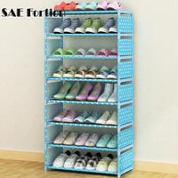DIY 4/6 Layer Non wove Shoe Display Shelf Galvanized Pipe Shoes Storage Rack Organizer Assemble Shoe Cabinet Shoe Stand KLG2538