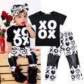 Menino da criança Do Bebê roupas de menina set 2 pcs T-shirt de Manga Curta Tops + Calças Conjunto de Roupas Roupa