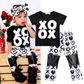 Toddler Baby Boy ropa de la muchacha fijaron 2 unids Manga Corta Camiseta Tops + Pants Outfit Ropa Set